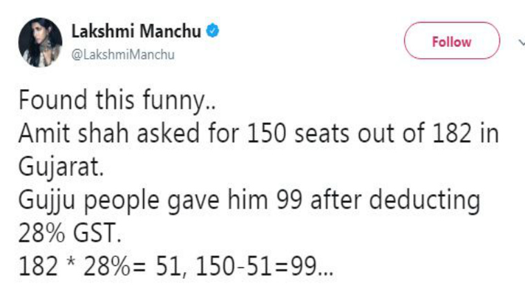 Lakshmi Manchu Mocks BJP Party With A Witty Tweet
