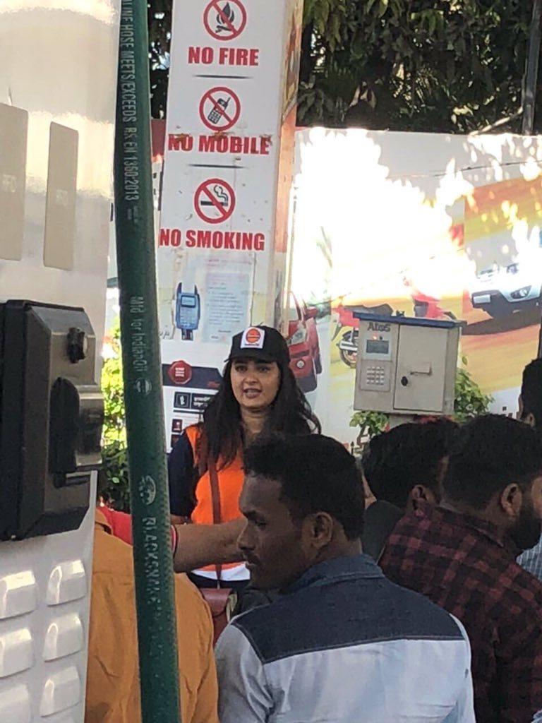 Actress Anushka Shetty Working In Petrol Bunk